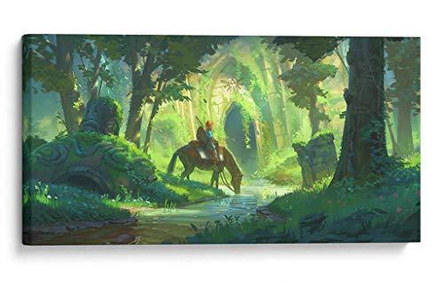 Cuadro decorativo de canvas (lienzo), Link on the woods - Gamers The Legend of Zelda, montado en bastidor de madera de 4.5 cm de...