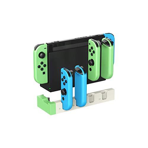 FFIT Base de Carga para Nintendo Switch Joy-con, Base de Carga cuádruple USB con Indicadores LED para Cargar 4X Switch Joy con Controladores (Verde/Blanco)