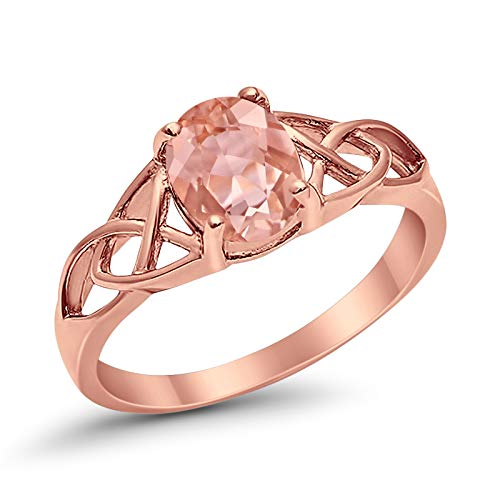 Blue Apple Co. Celtic Accent Solitaire Ring Oval Simulated Morganite Rose Tone 925 Sterling Silver, Size-6