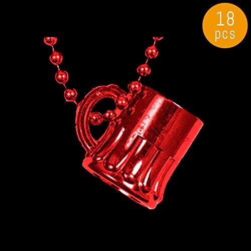 Lumistick 33 Inch Beer Mug Mardi Gras Beads - Plastic Mug Shot Glass Necklace - Costumes Neckwear Drinking Mug - Party Favor Drinkware Accessories (Red, 18 Beads)