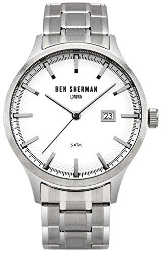 Ben Sherman Hombres Reloj De Cuarzo con Esfera Analógica Blanca y Plateado Correa de Acero Inoxidable wb056sm