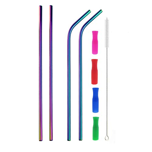 Colorful Stainless Steel Straws, 4pcs Ultra Long 12' Reusable Rainbow Color Drinking Straws with Silicone Tips and Cleaning Brush