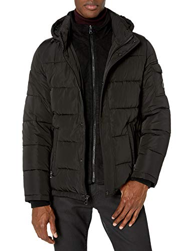 Calvin Klein Men's Alternative Down Puffer Jacket with Bib, black, Medium