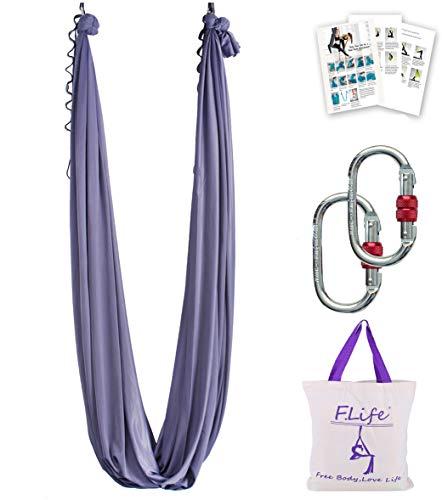 Aerial Yoga Hammock 5.5 Yards Premium Aerial Silk Fabric Yoga Swing for Antigravity Yoga Inversion Include Daisy Chain,Carabiner and Pose Guide (Dark Grey)