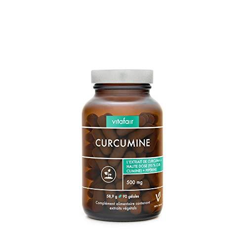 VITAFAIR Curcuma 1000mg + Poivre Noir 50mg - 95% d'Agents Actifs - 90 Gélules - Végan, Sans Additifs, Haute Biodisponibilité, Qualité Allemande - Poudre Dose Puissante + Pipérine