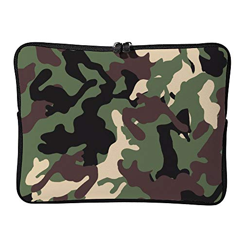 DKISEE Black And Green Camouflage Laptop Sleeve for MacBook Air/MacBook Pro Compatible with 13 Inch Notebook Two way Zippers Laptop Carry Bag Case Cover, FXH20200409GPC016