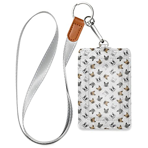 Cute Puppy French Bulldog Vertical Leather ID Badge Holder with 1 Clear ID Window 2 Credit Card Slots 1 Detachable Neck Lanyard for Office School