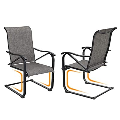 Sophia & William Patio Dining Chairs 2 Pieces C Spring Motion Textilene Metal Chairs High Back Support 300 lbs Weather Resistant Outdoor Furniture for Lawn Garden Balcony Pool Backyard