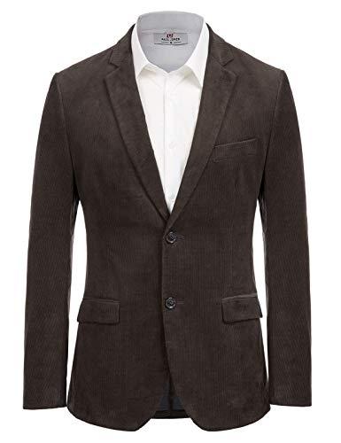 PJ PAUL JONES Mens Corduroy Sport Coat Casual Slim Fit Two Button Blazer Jacket Chocolate L
