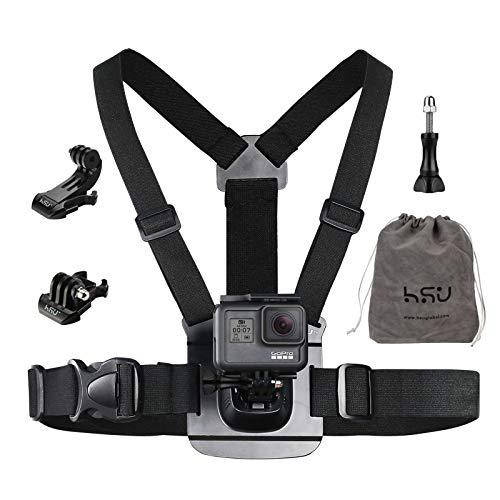 HSU Brustgurt Halterung Brusthalterung Chest Mount mit J-Haken Zubehör Set Kompatibel für GoPro und Action-Kameras