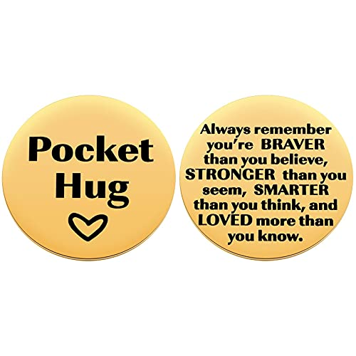 MIXJOY Pocket Hug with Message Hug Token, Isolation Gift for Someone You Love, Miss You, Thinking of You, Long Distance Relationship, 1.5', Gold
