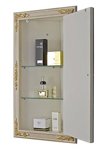 Eck-Spiegelschrank, Rahmen aus Holz, Schrank mit zwei glasen Einlegeböden, Einrichtung für Badezimmer, klassischer Stil, Maße des Spiegels: cm 68 x 101 Maße des Schrankes: cm 45 x 80 – Tiefe: cm 27