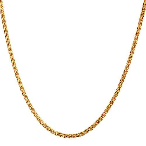 U7 Collana catena grano da uomo placcato oro 18K, larghezza 3 mm, catena grano sottile, per ragazzo, Confezione regalo - Oro / 55cm - Regalo Natale