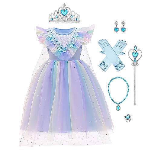 Disfraz infantil de princesa Elsa Anna de la reina de las nieves, de tul, para Navidad, Halloween, princesas de hielo, para carnaval, cumpleaos, regalo, para fiestas, tallas 98-140 03-azul 3-4 Aos