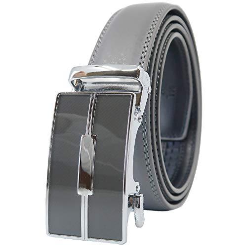YEHMAN Herren Ratsche Automatik Leder Gürtel ohne Löcher mit Automatikschließe 3 cm Breite verstellbare grösse für Männer. Länge, 505 Grau