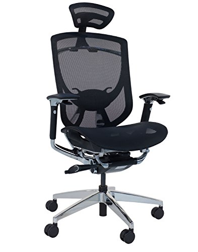 Sigma Büro Ergonomische Chefsessel Deus mit verstellbarer Kopfstütze und Armlehnen in schwarz Polypropylen Net