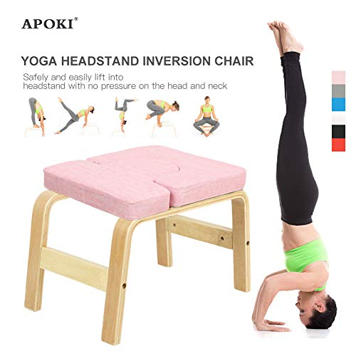 arthomer Yoga Inversion Chair,yoga Aids Workout Chair,yoga Headstand Bench Birch//beech+sponge Mat Cloth//PU 37x57x35cm//14.57x22.44x13.78in Recycled Cotton For Family Gym Relieve Fatigue great gift