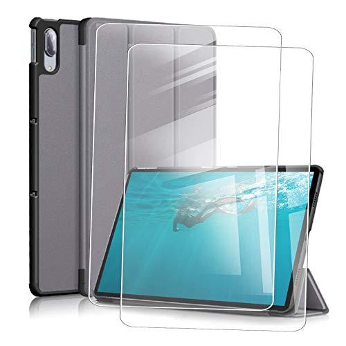 JIENI Funda Lenovo Tab M10 HD (10.1) X306X Funda para Tablet PC (Segunda generación), con función de Reposo y activación/Reposo + 2 película de Vidrio Templado -Gris