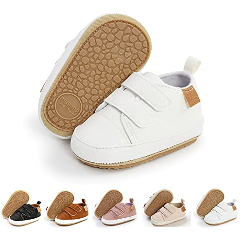 Baby Boys Girls Shoes Infant Sneakers Non Slip Rubber Sole Toddler First Walker Outdoor Tennis Crib Dress Shoes(6-12 Months Infant G/White)