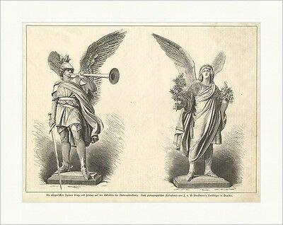 Kunstdruck Die allegorischen Figuren Krieg und Frieden Nationaldenkmal Holzstich E 7589