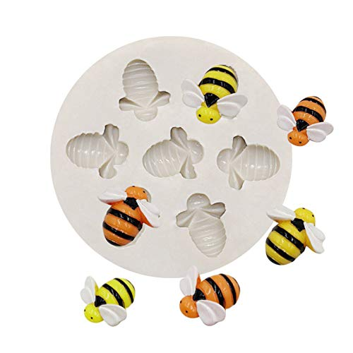 Bee Silicone Molds Fondant Baking Mold, Bees Cookie Moldes Fondant Silicone Cake Decorating Mould, Cupcake DIY Chocolates Bee Cake Silicone Mold (1)