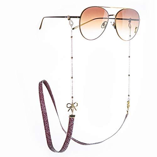 Savin Cadena para Gafas, Soporte para Correa para Gafas de Sol, decoración con Lazo, Soporte para anteojos de Lectura, Cordones, Cordones para Mujer, Color Dorado