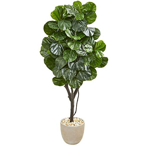 "Nearly Natural 67"" Fiddle Leaf Fig Artificial Sand Stone Planter Silk Trees, Green"