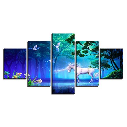 WHFDH Moderne muurschildering canvas Hd Print Poster 5 stuks wit paard dier schilderij droombos afbeelding decoratie 40x60 40x80 40x100cm Frame