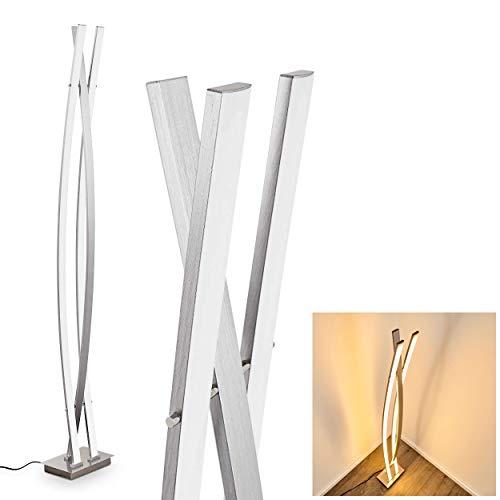 Lampadaire LED Nasko en métal/nickel mat, luminaire design à intensité variable par interrupteur sur le câble, 22,5 Watt, 2200 Lumen, 2700 Kelvin (blanc chaud) [classe énergétique A++ à A]