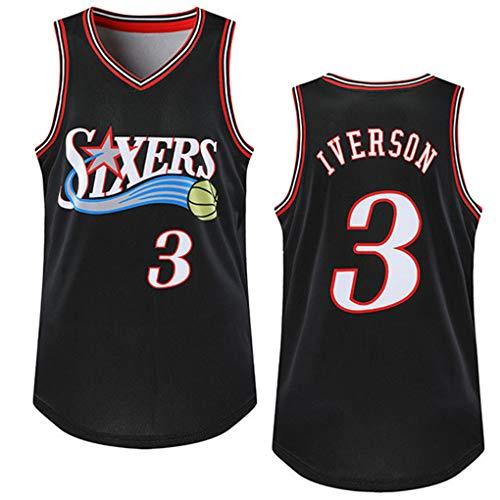 Miyapy NBA Jersey Philadelphia 76ers # 3 Allen Iverson Sommer Herren Trikot Basketball Uniform Stickerei Tops Basketball Anzug Trikots Schwarzgold-Trikot