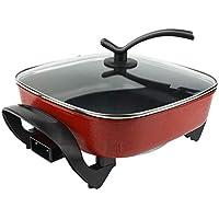 Ausla - Wok eléctrico, 1360 W, 5 L, olla eléctrica multifunción, olla caliente, antiadherente, de aluminio fundido, enchufe europeo 220 V