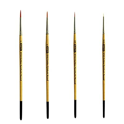 ZEM Golden Synthetic Small Detail Round Brushes Set Sizes 10/0, 3/0, 0, 2