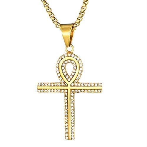 NC190 Collar Hip Hop Collar de Acero Inoxidable 316L Collar de Cruz egipcia Collares con Colgante de Color Dorado para Hombres Joyas para Mujeres Hombres Regalo