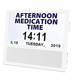 [SANTEK] SAC0700 Digital Medicine Clock and Photo Frame Medication Reminders with 8 Alarm Options Calendar 7inch 1024x600 IPS Clear Display Large Letters - White