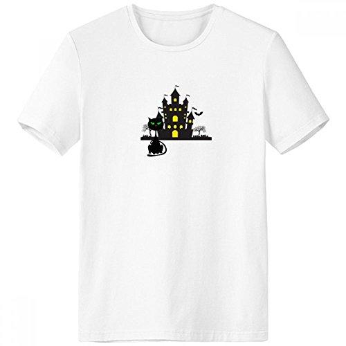 Camiseta de Halloween Horrível Castelo Sombrio Gato Gola Redonda Bolso Roupa Esportiva Manga Curta Presente, Multicor, L