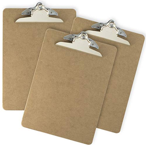 """Officemate Recycled Wood Clipboard, Letter Size, 9"""" x 12.5"""" with 6"""" Clip, 3 Pack (83133),Brown"""