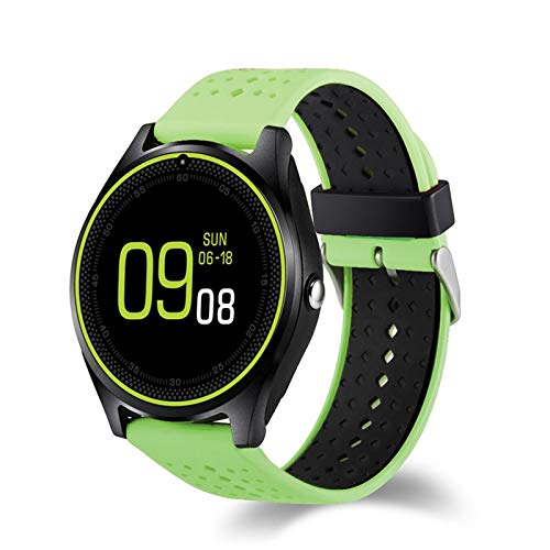 YGQNH Reloj Inteligente, V9 DZ09 con Cámara Reloj Inteligente Podómetro Salud Deporte Reloj Horas Hombres Mujeres Reloj Inteligente para Android iOS, Fácil De Usar(Color:Verde)