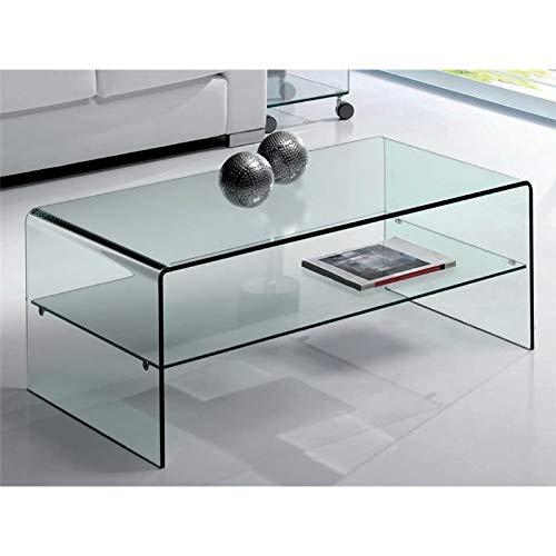 Mesa de Centro de Cristal Curvado con Estante Cardinia 110 cm