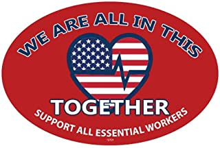 SJT ENTERPRISES, INC. We are All in This Together - Heart Logo - Support All Essential Workers Oval Car Magnets (SJT12701)