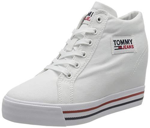 Tommy Jeans Damen Wedge Sneaker mit Keilabsatz, weiß, 38 EU