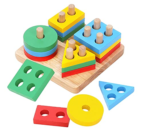 Wooden Stacking Montessori Toys by Boxiki Kids. Colorful Shape Sorter Stacker. Baby Wooden Toys for Early Development & Fine Motor Skills for 1 2 3 Years Old Boys & Girls (Geometric)