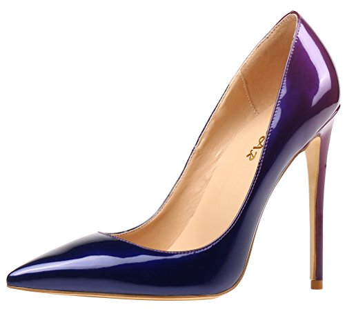 AOOAR Damen Gradient Lackleder Stiletto Pumps Blau & Violett EU 39