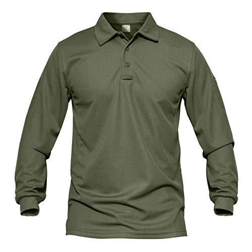 MAGCOMSEN - Polo da uomo a maniche lunghe, ad asciugatura rapida, per attività casual, militare, golf, escursionismo Verde militare M