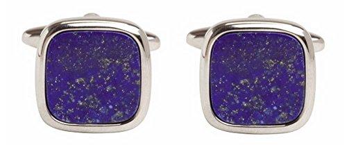 David Van Hagen Argent Lapis Lazuli Carré boutons de manchette de