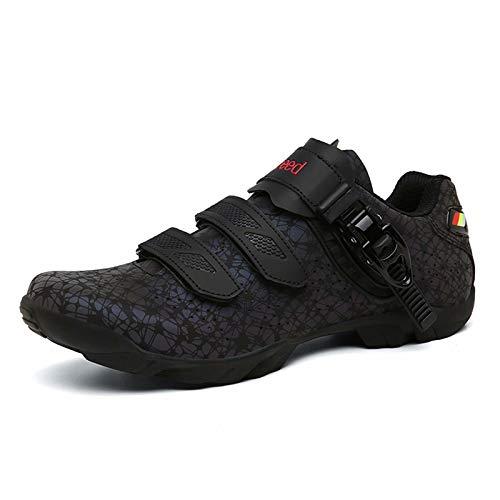 Zapatillas de ciclismo: tacos transpirables de fibra de carbono y zapatos de bicicleta de montaña resistentes al desgaste con tacos SPD giratorios para bicicletas de carreras de carretera con tacos