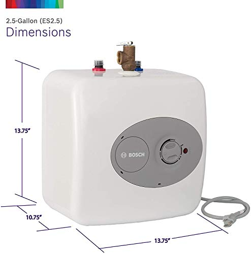 """Bosch Electric Mini-Tank Water Heater Tronic 3000 T 2.5-Gallon (ES2.5) - Eliminate Time for Hot Water - Shelf, Wall or… 4 CONVENIENT HOT WATER HEATER: 2.5 gallon point-of-use mini-tank fits under your sink to provide hot water right where you need it. Thermal efficiency is 98%. Dimensions : 13.75 W x 13.75 H x 10.75 D Inches LONG LASTING QUALITY: This electric water heater is easy to maintain and has premium glass-lined material for a long service life. (Amps 12A, Volts (VAC) 120) INDEPENDENT INSTALLATION: 36-37"""" cord plugs into a 120 volt outlet for independent installation or in-line with a large hot water source"""