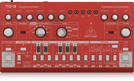 Behringer TD-3-RD Analog Bass Line Synthesizer with VCO, VCF, 16-Step Sequencer, Distortion Effects and 16-Voice Poly Chain