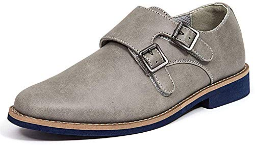 Deer Stags Boy's Monk-Strap Loafer, Grey, 5.5 Big Kid