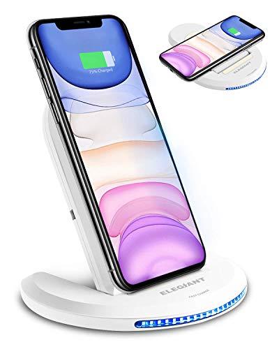 ELEGIANT Wireless Charger Induktions Ladegerät Qi Charger Drahtlose Faltbare Schnellladegerät für Galaxy S20 /S20+ /S20 ultra/S10/S9/S8/S7, iPhone 11/XR/XS/max/8/X und alle Qi Fähige Geräte weiß