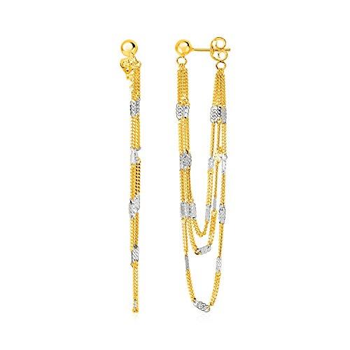 Pendientes colgantes de cadena con acentos rectangulares en oro amarillo y blanco de 14 K